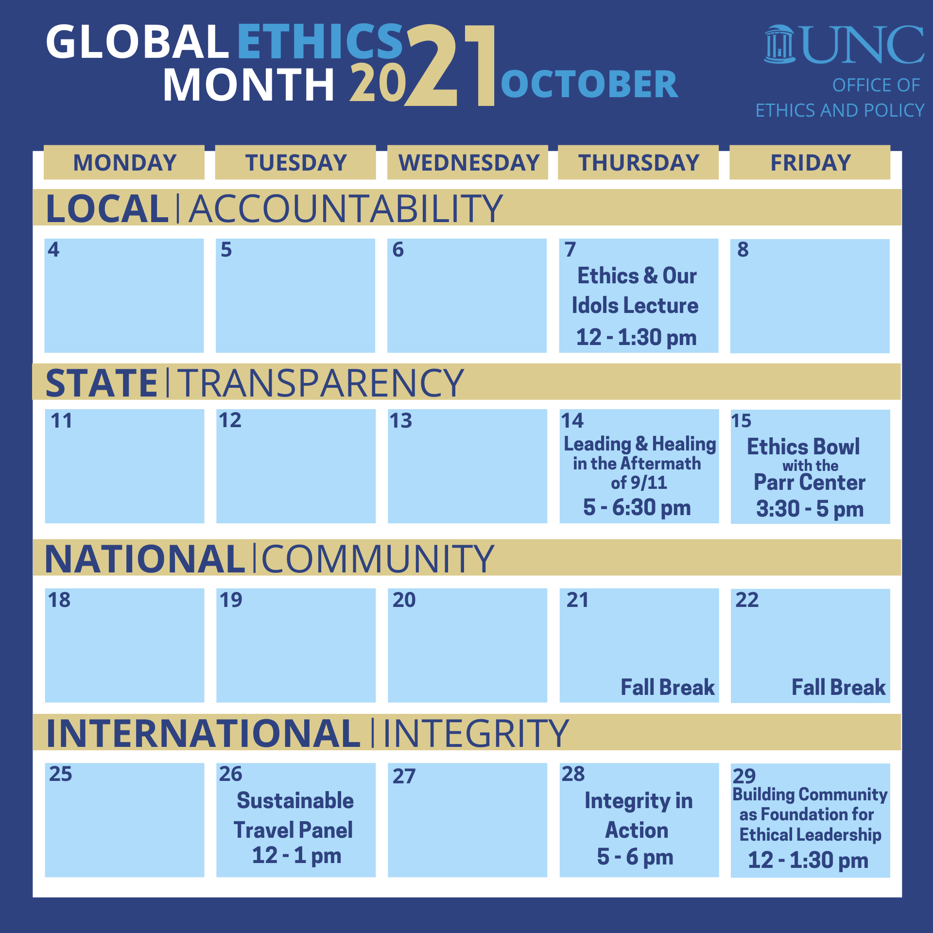 Calendar Graphic displaying Global Ethics Month events hosted by UNC Ethics and Policy